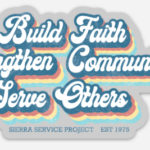 Colorful retro magnet depicting SSP's mission statement