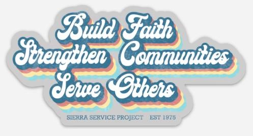Colorful retro magnet depicting SSP's mission statement