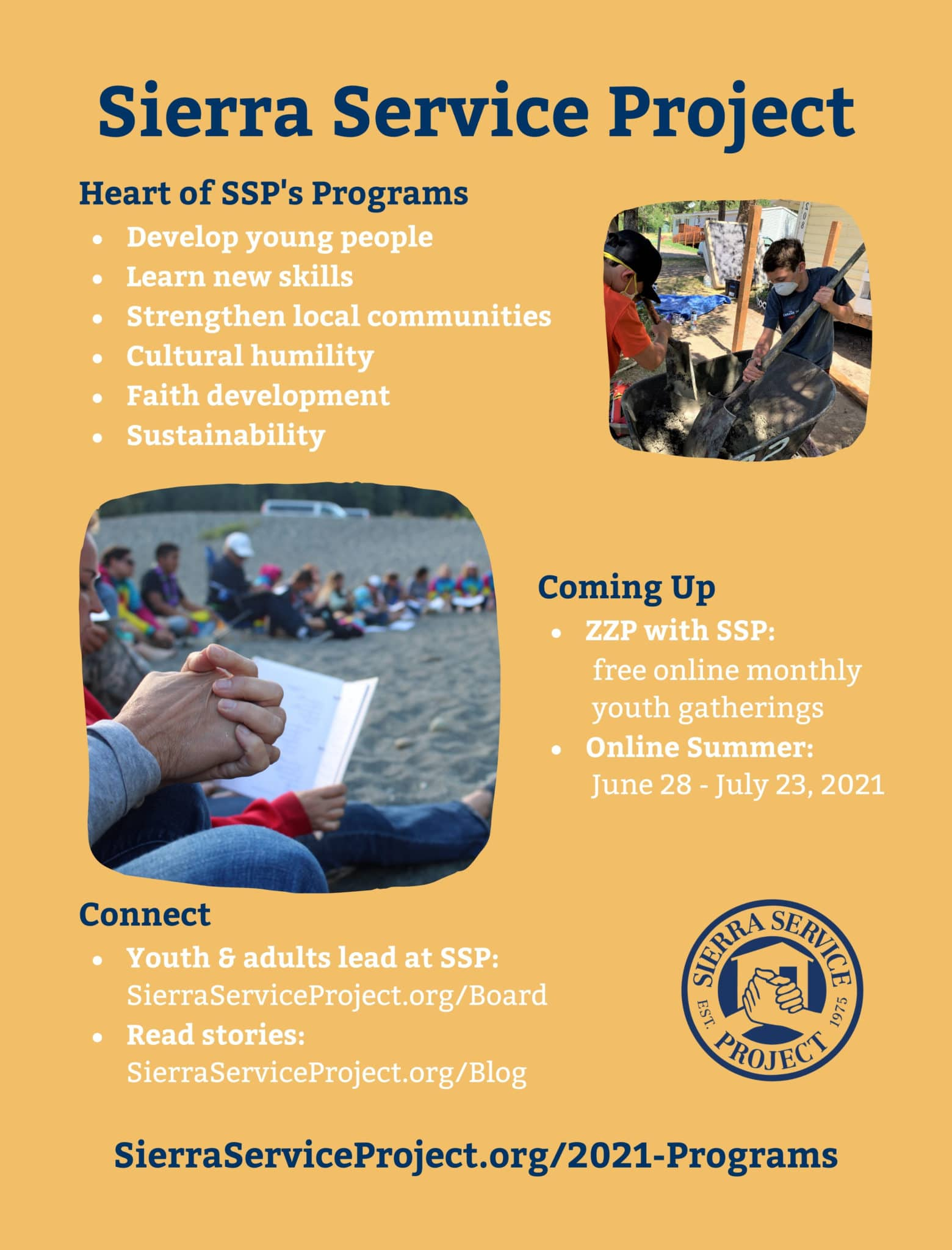 Graphic depicting the heart of SSP's programs, upcoming opportunities, and ways to stay connected.