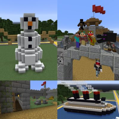Examples of Minecraft creations from summer activities.