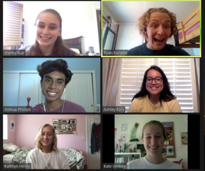 Six San Diego staff members smiling on Zoom.