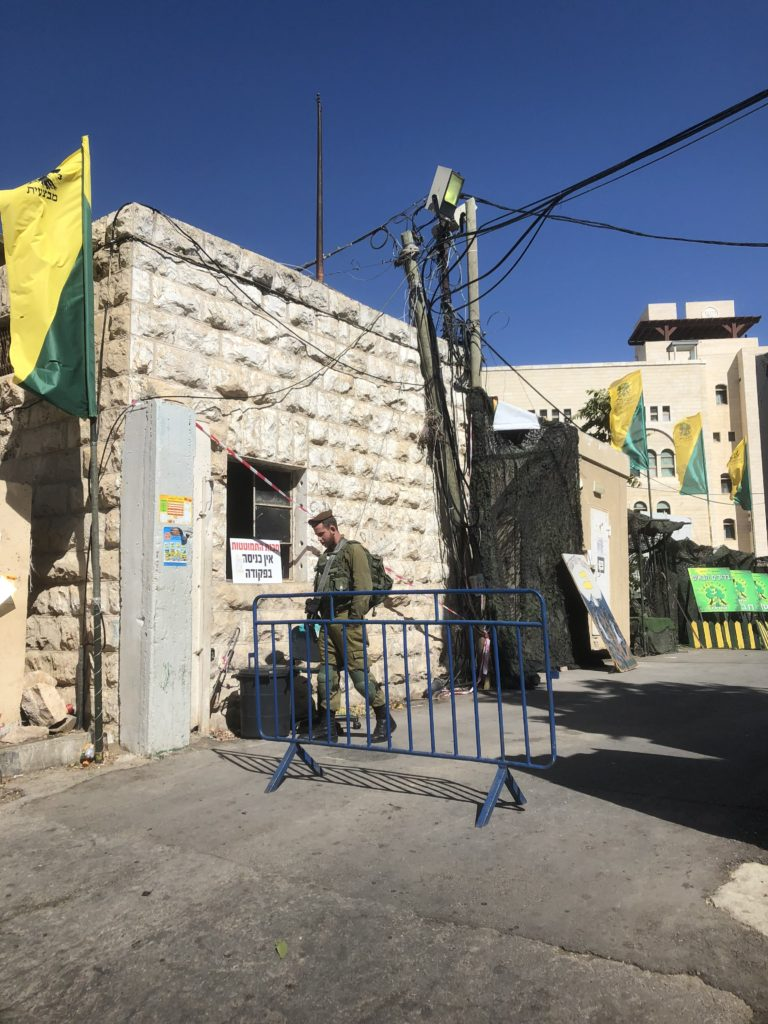 A checkpoint in Hebron, a city in the occupied West Bank partially under Israeli military control.